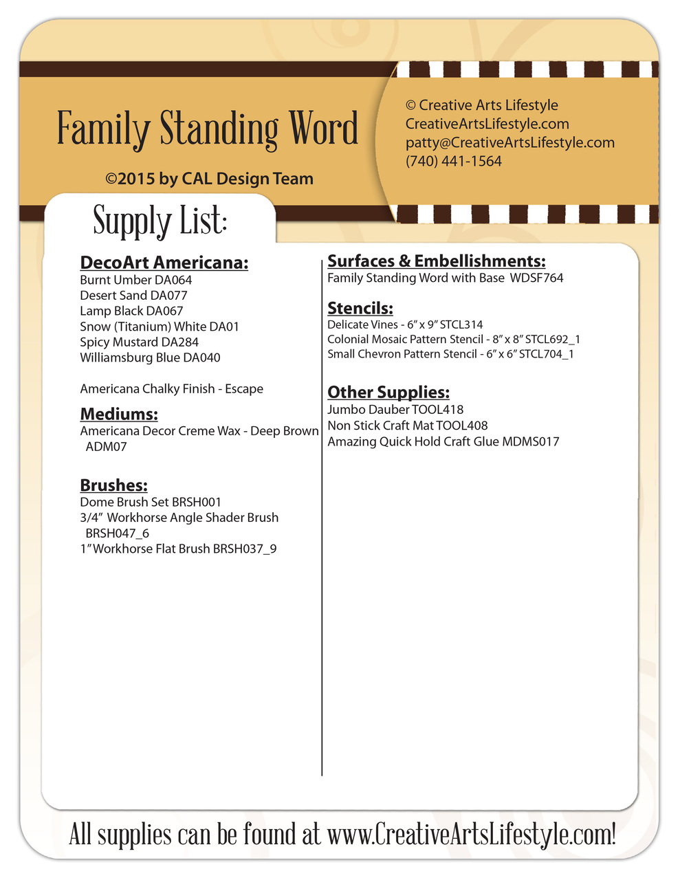Family Standing Word Pattern Packet - Patricia Rawlinson