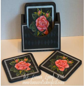 Rose Coaster Set - E-Packet - Lonna Lamb