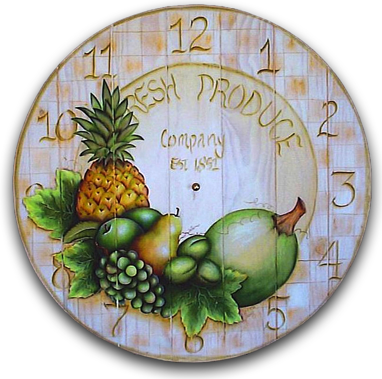 Green Fruit Clock Pattern Packet - Patricia Rawlinson