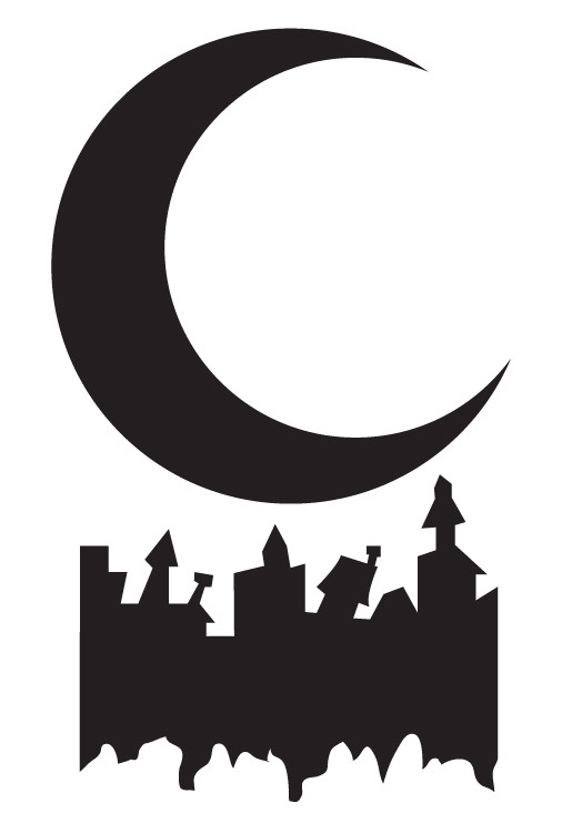 """Moon and Haunted Town Stencil - 13"""" x 19.5"""""""
