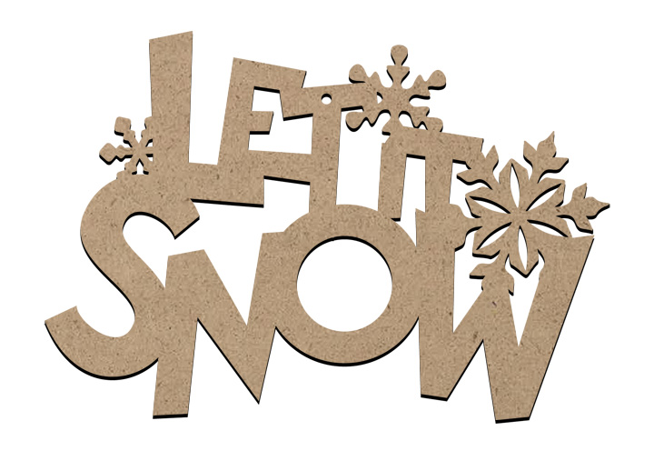 Christmas Word Ornament Large - Let It Snow