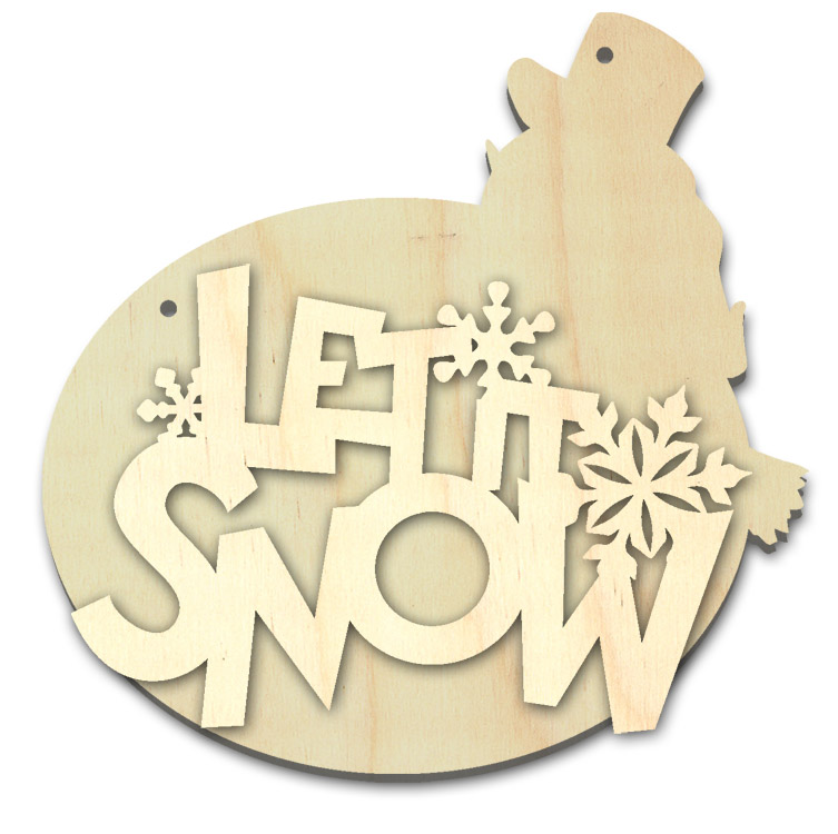 """Let it Snow Multipart Word Surface - Ornament - 4 1/4"""" x 4 1/4"""""""