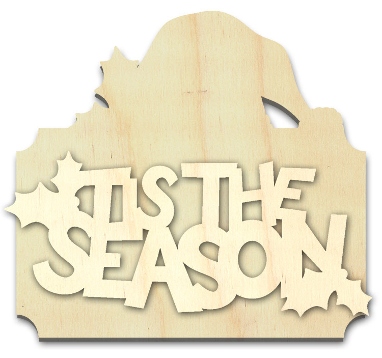 """Tis the Season Multipart Word Surface - Ornament - 4 1/8"""" x 3 1/2"""""""