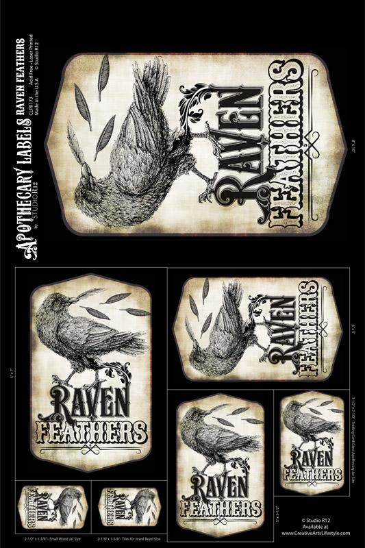 Antique Apothecary Labels - Collage Paper - Raven Feathers - Assorted Sizes