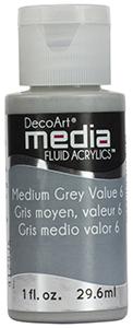DecoArt Media Fluid Acrylics - Medium Grey Value 6 - 1 oz.