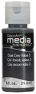 DecoArt Media Fluid Acrylics - Dark Grey Value 3 - 1 oz.