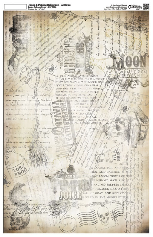 """Prose and Potions Halloween - Collage Paper - Antique - 16"""" x 10"""""""