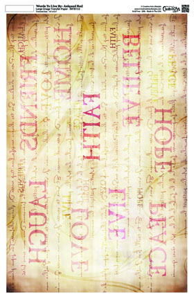 Words To Live By - Antique Red -Background 16x10 -Image Transfer