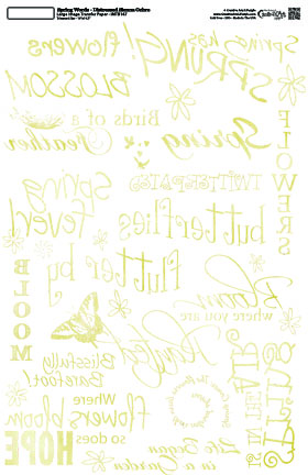 Spring Words - Distressed Ochre- 10 x 16  Image Transfer