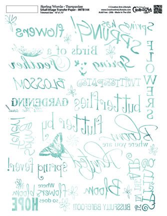 Spring Words -Distressed Turquoise -  8x10 Image Transfer