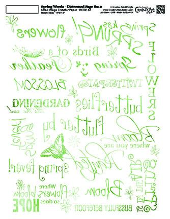 Spring Words -Distressed Sage -  8x10 Image Transfer