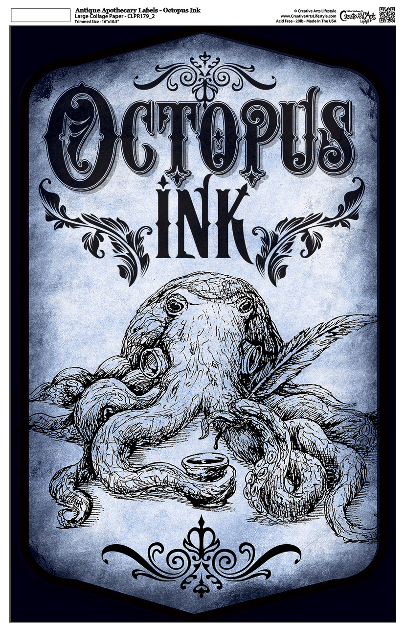 "Antique Apothecary Label - Collage Paper - Octopus Ink - Blue - 10.5"" x 16.25"""
