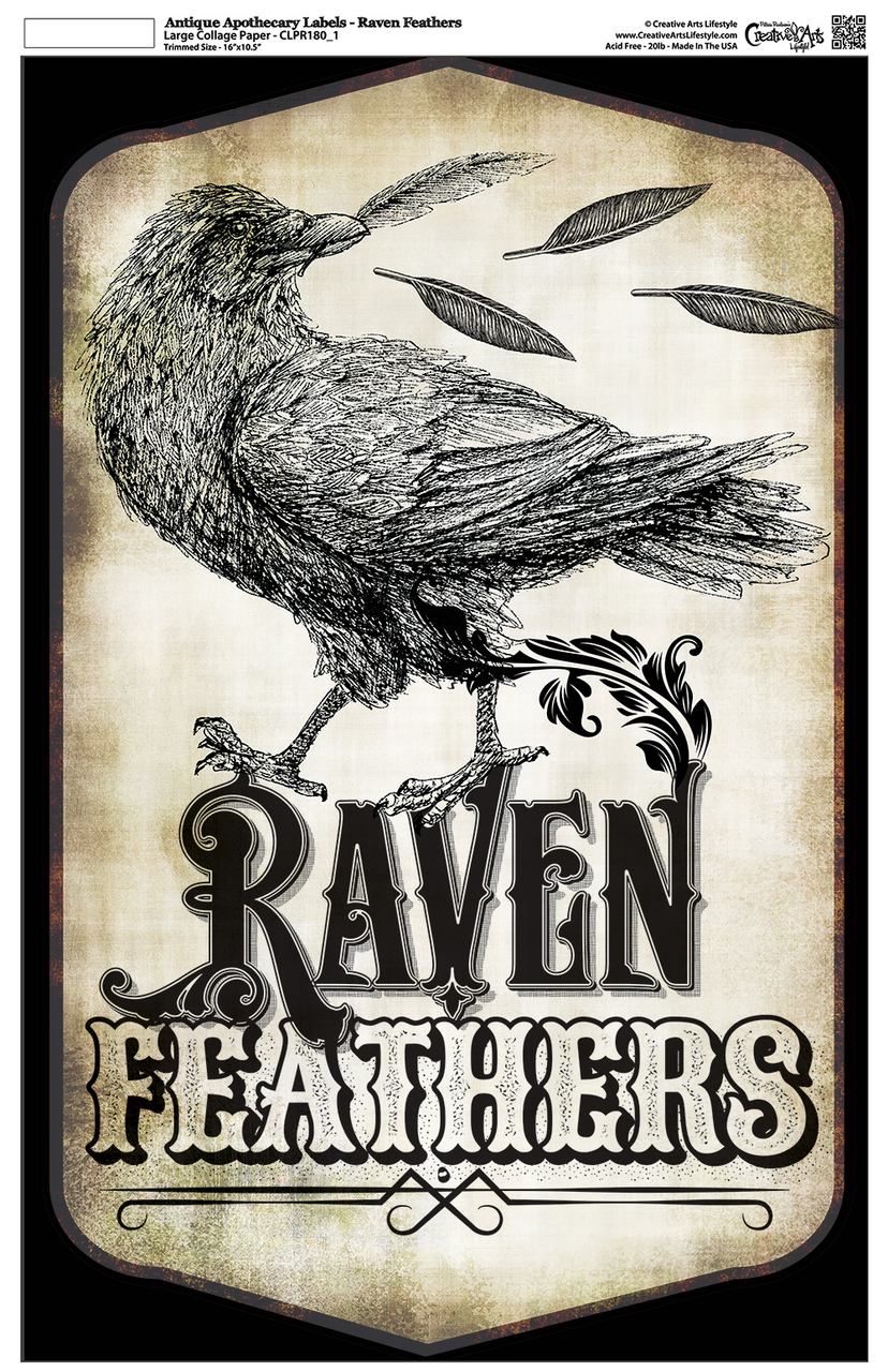 "Antique Apothecary Label - Collage Paper - Raven Feathers- 10.5"" x 16.25"""