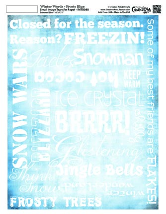 Winter Words - Frosty Blue Image Transfer 8x10