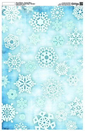 Snowflakes Frosty Blue Image Transfer 16 x 10