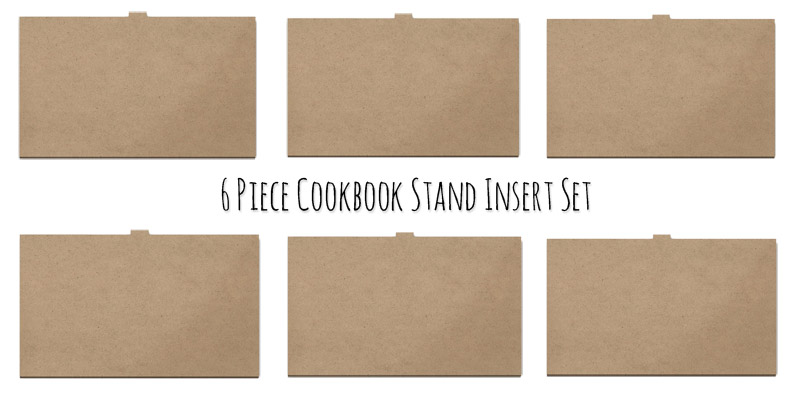 6 Piece Cookbook Stand Reversible Insert Panel Set