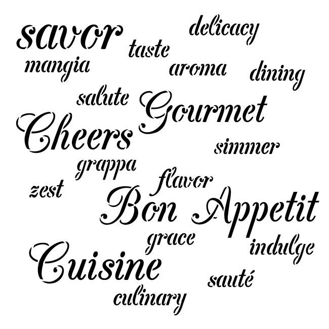 """Gourmet Background Word Stencil - 8"""" x 8"""""""