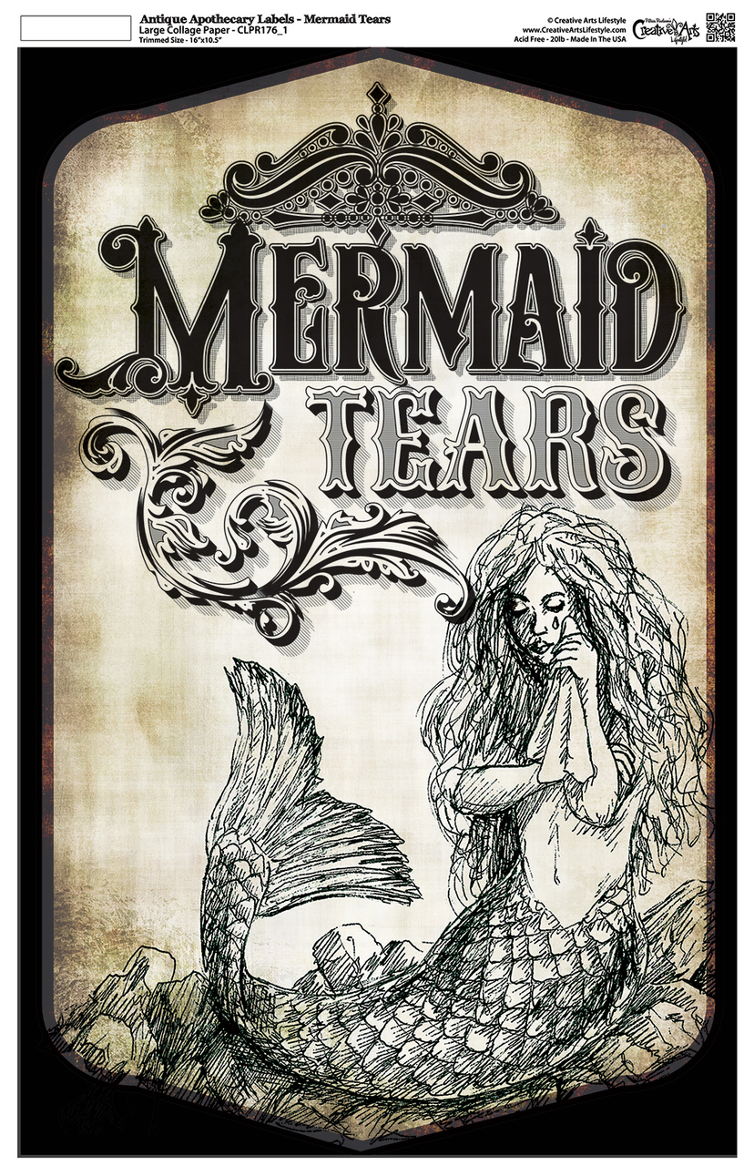 "Antique Apothecary Label - Collage Papers - Mermaid Tears - 10.5"" x 16.25"""