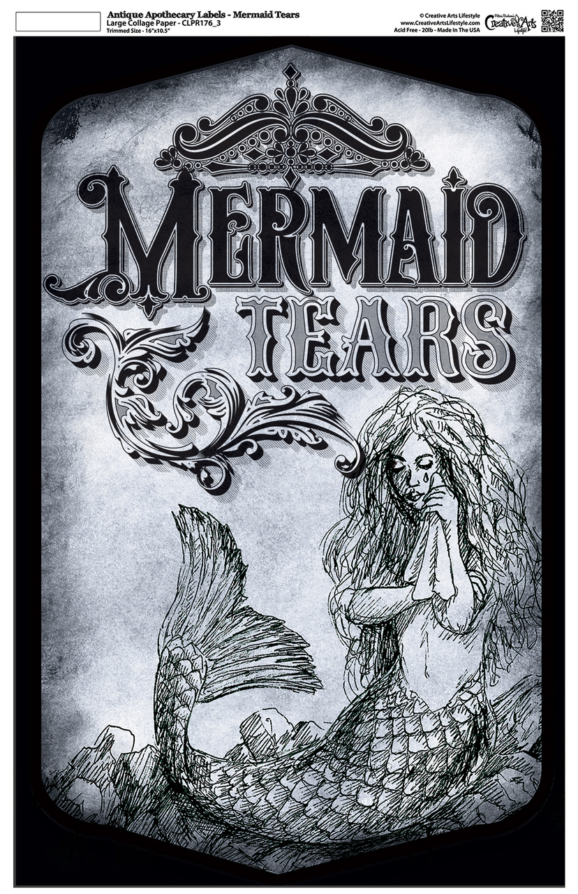 """Antique Apothecary Label - Collage Papers - Mermaid Tears - 10.5"""" x 16.25"""""""