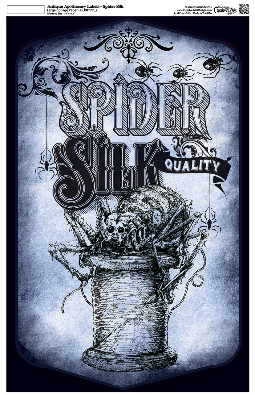 "Antique Apothecary Label - Collage Papers - Spider Silk - 10.5"" x 16.25"""