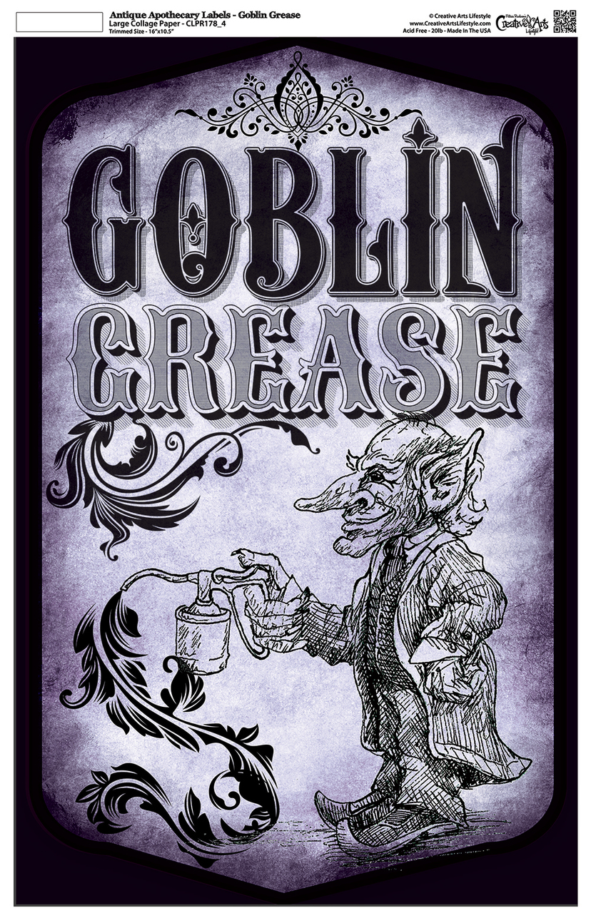 "Antique Apothecary Label - Collage Papers - Goblin Grease - 10.5"" x 16.25"""