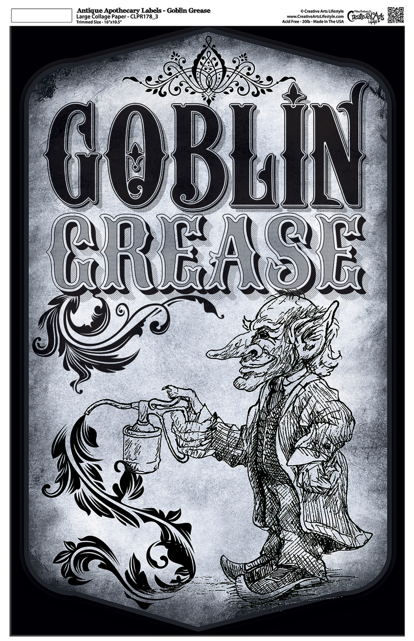 """Antique Apothecary Label - Collage Papers - Goblin Grease - 10.5"""" x 16.25"""""""