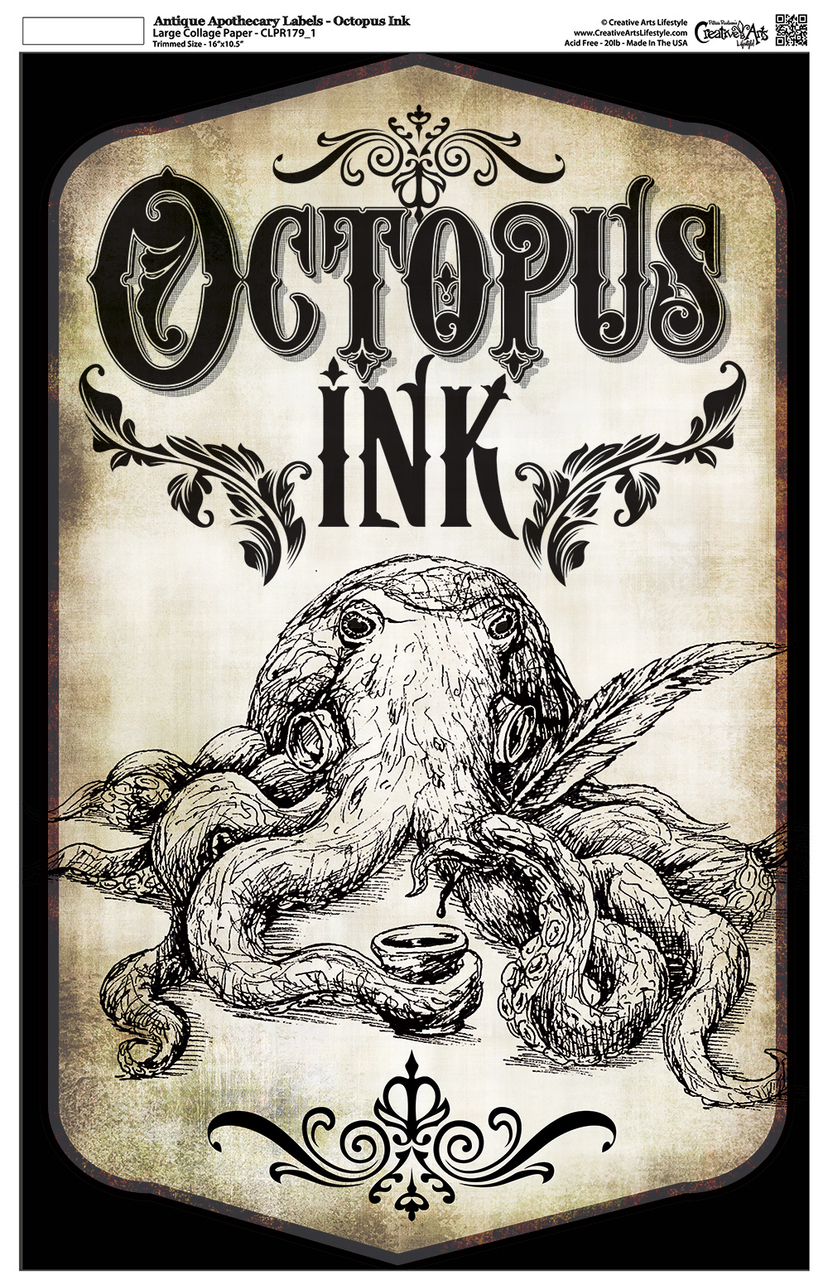 "Antique Apothecary Label - Collage Papers - Octopus Ink - 10.5"" x 16.25"""