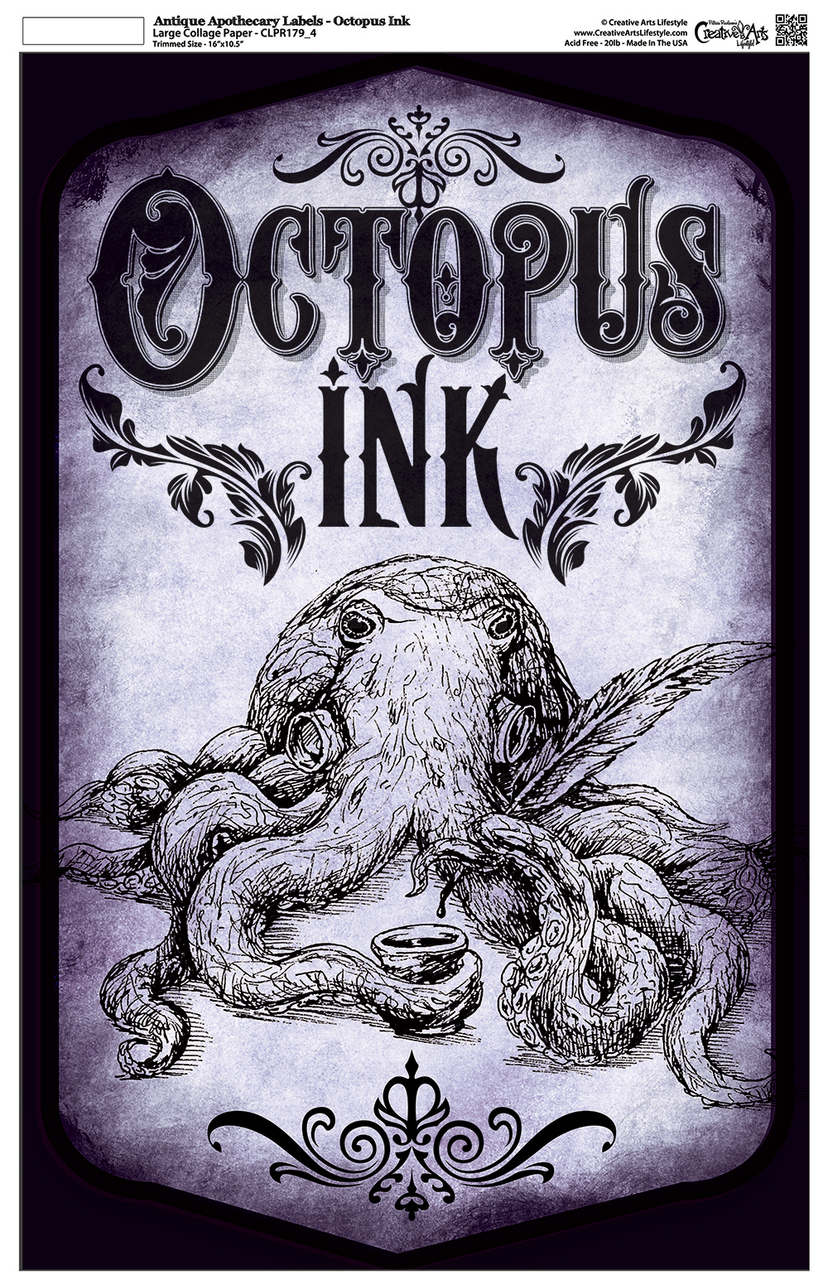 """Antique Apothecary Label - Collage Papers - Octopus Ink - 10.5"""" x 16.25"""""""