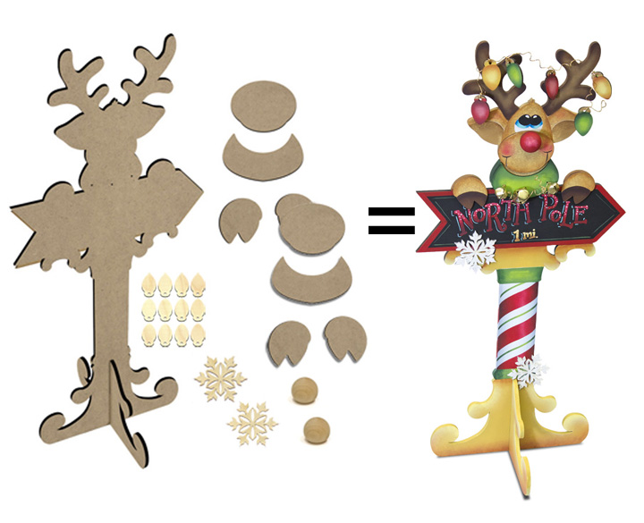 North Pole Rudolph Surface and Embellishment Set