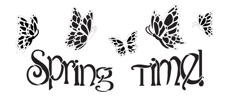 Spring Time Word and Butterflies Stencil