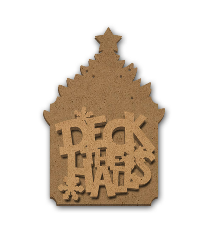 """Deck the Halls Multipart Word Surface - Ornament - 3 3/4"""" x 5 1/2"""""""