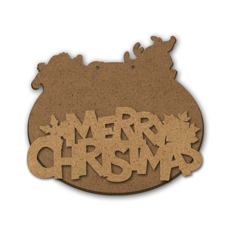 "Merry Christmas Multipart Word Surface - Plaque - 10"" x 9"""