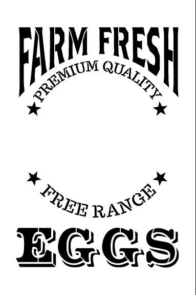 """Farm Fresh Eggs Word Art Stencil - 8 1/2"""" x 11"""""""