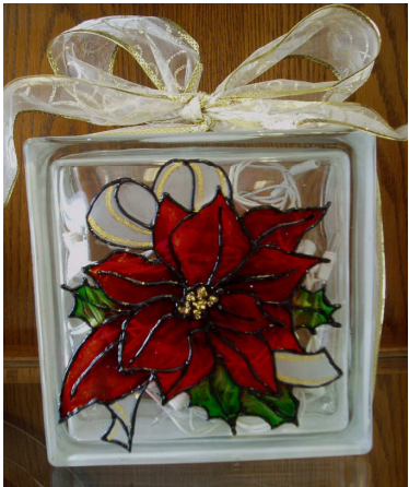 Poinsettia Glass Block - E-Packet - Wendy Fahey