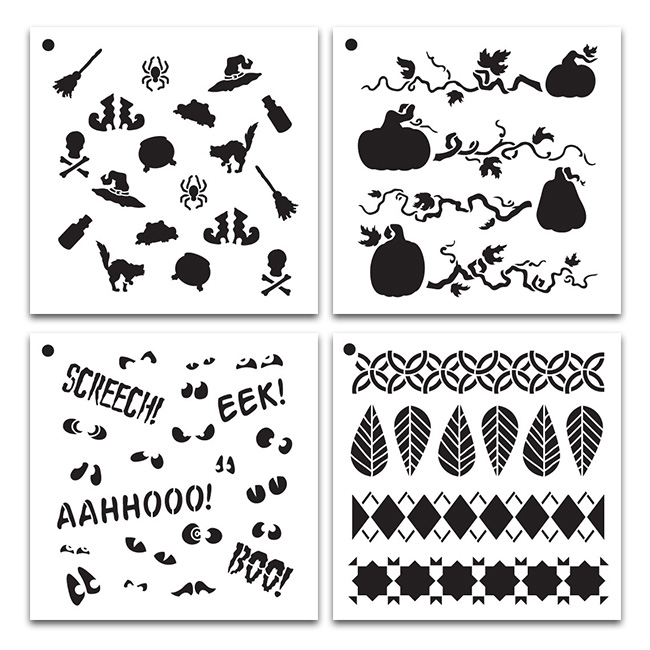 4 NEW Fall Pattern Stencils Set