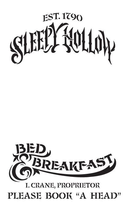 "Sleepy Hollow B&B Word Art Stencil - 7""X12"""