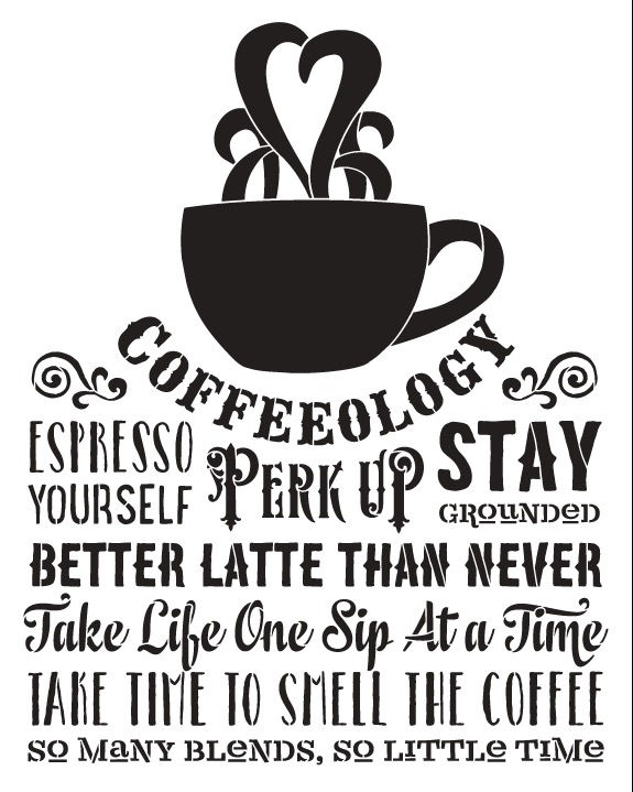 "Coffeeology Word Art Stencil - 15"" X 12"""