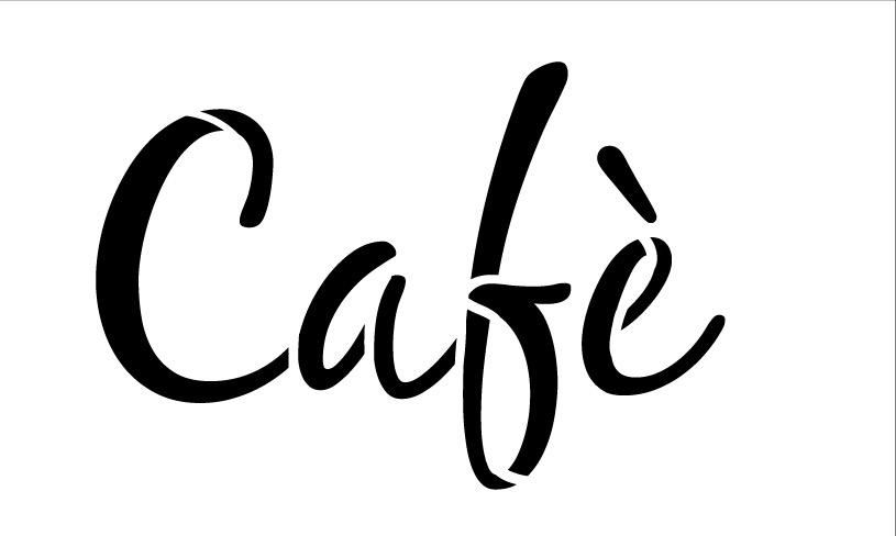 "Cafe-Word Stencil  - Casual Script 8"" x 5"""