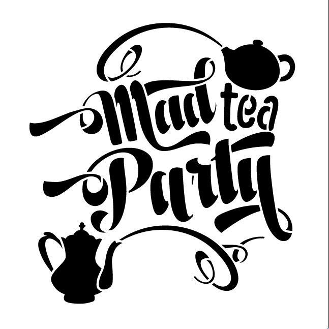 Mad Tea Party Word Art Stencil