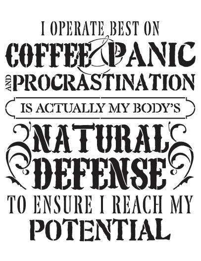 "Coffee Panic Procrastination Word Art Stencil 8.5"" X 11"""