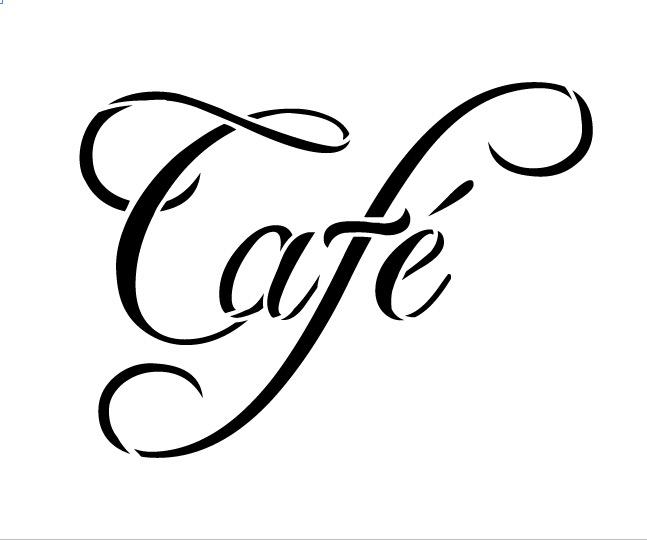 """Cafe Word Art Stencil-Swish Script - 6"""" X 5"""""""