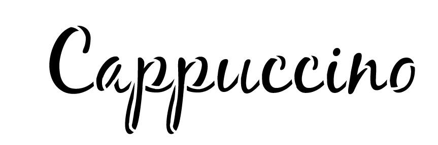 """Cappuccino Word Art Stencil-Casual Script - 6"""" X 2"""""""