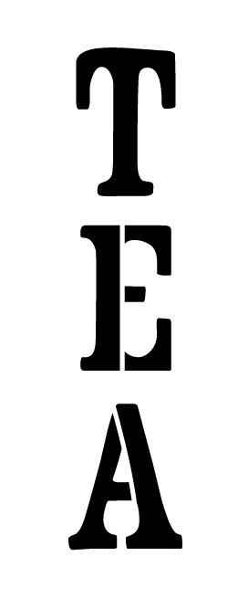 """Tea Word Art Stencil-Vintage Headline Vertical - 5"""" X 2"""""""