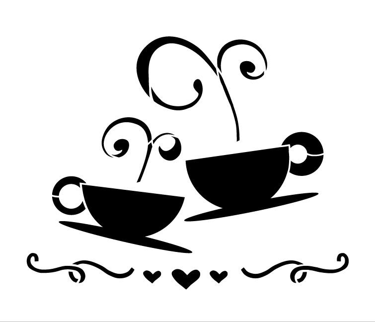 "Tea Coffee Love Art Stencil- 6"" X 7"""