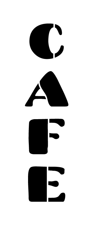 "Cafe Word Stencil - Chunky Retro - 8"" X 3"""