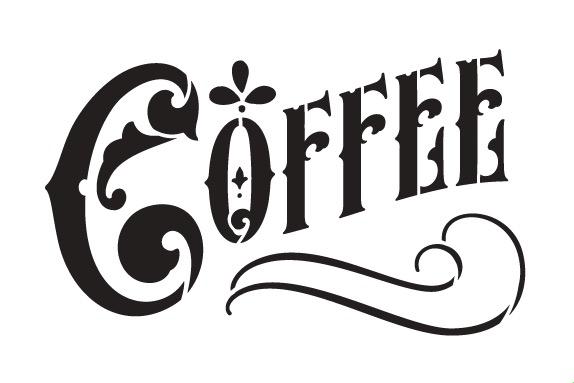 "Coffee Word Art Stencil - Victorian Headline - 12"" X 8"""