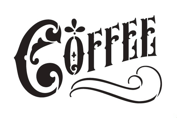 "Coffee Word Art Stencil - Victorian Headline - 15"" X 10"""