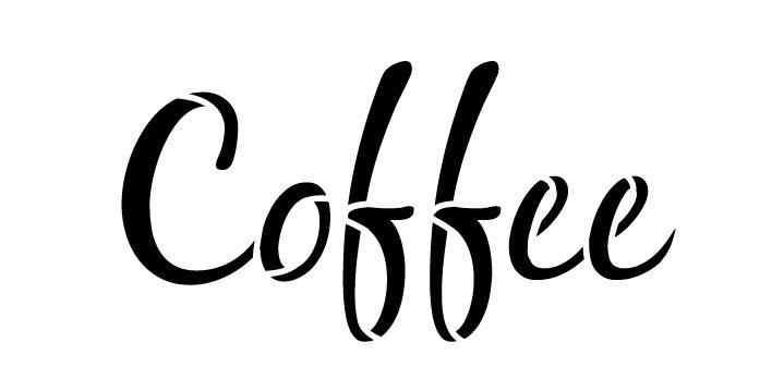 "Coffee Word Art Stencil-Casual Script- 8"" X 4"""