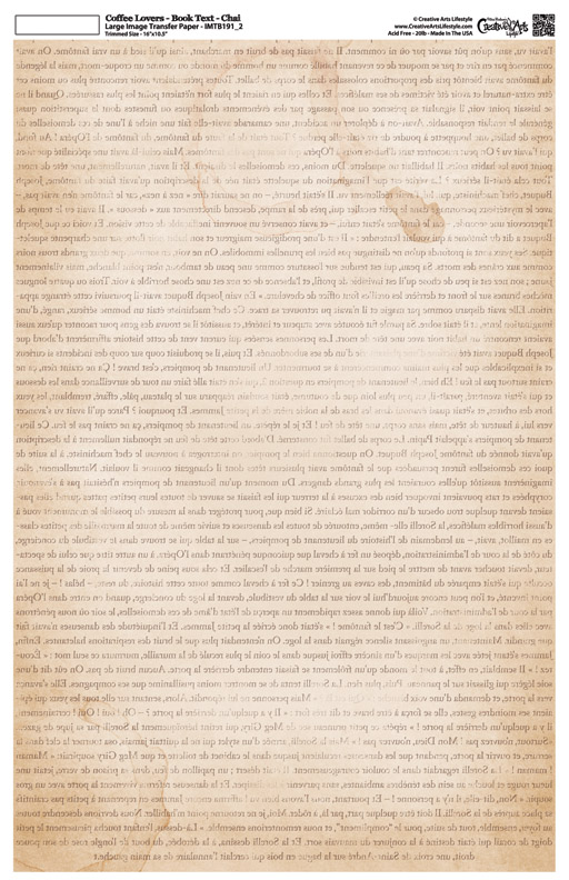 """Coffee Lovers - Book Text - Image Transfer Background Paper - Chai - 10"""" x 16"""""""