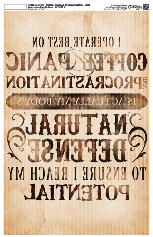 "Coffee Lovers - Coffee Panic Procrastination - Image Transfer Background Paper - Chai - 10"" x 16"""